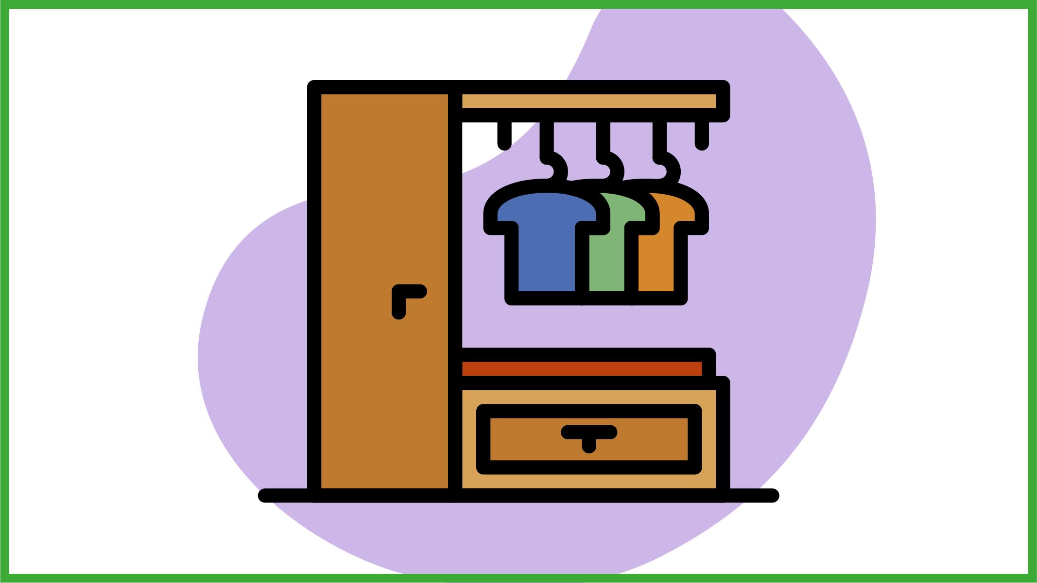 Immagine di abiti appesa ad un guardaroba