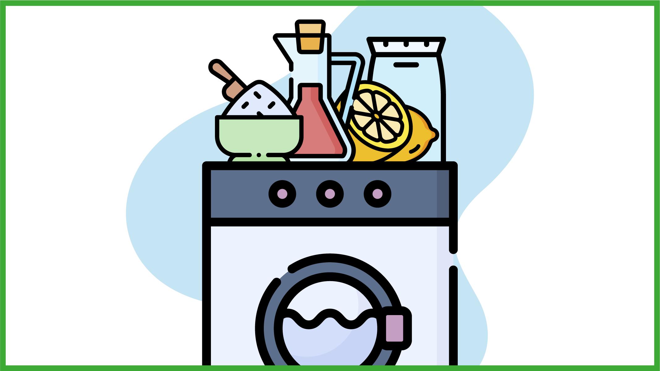 Immagine di una lavatrice con sopra i 4 ingredienti naturali indispensabili