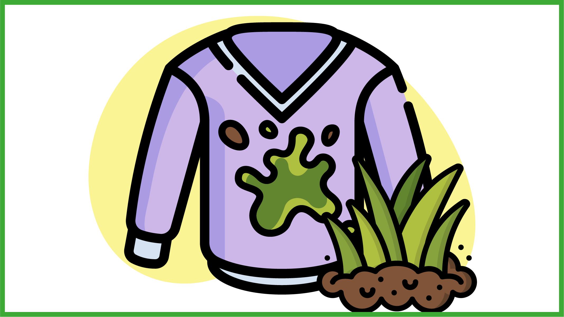 Immagine di una maglia colorata sporca di erba