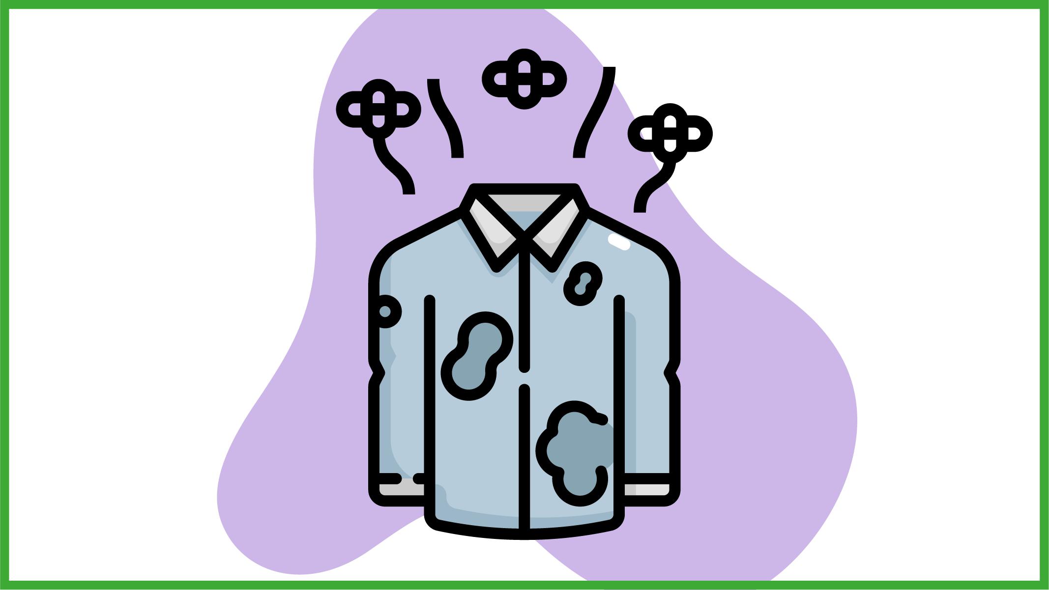 Immagine di una camicia di seta con gli aloni di sudore