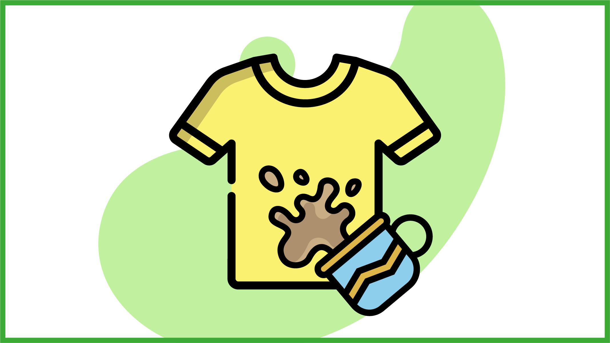 Immagine di una maglietta colorata sporca di cacao