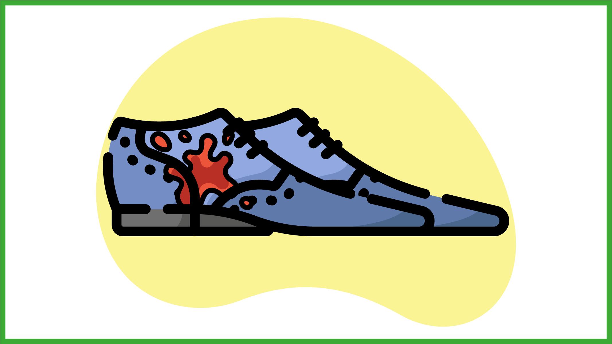 Immagine di un paio di scarpe in pelle scamosciata sporche di cioccolato