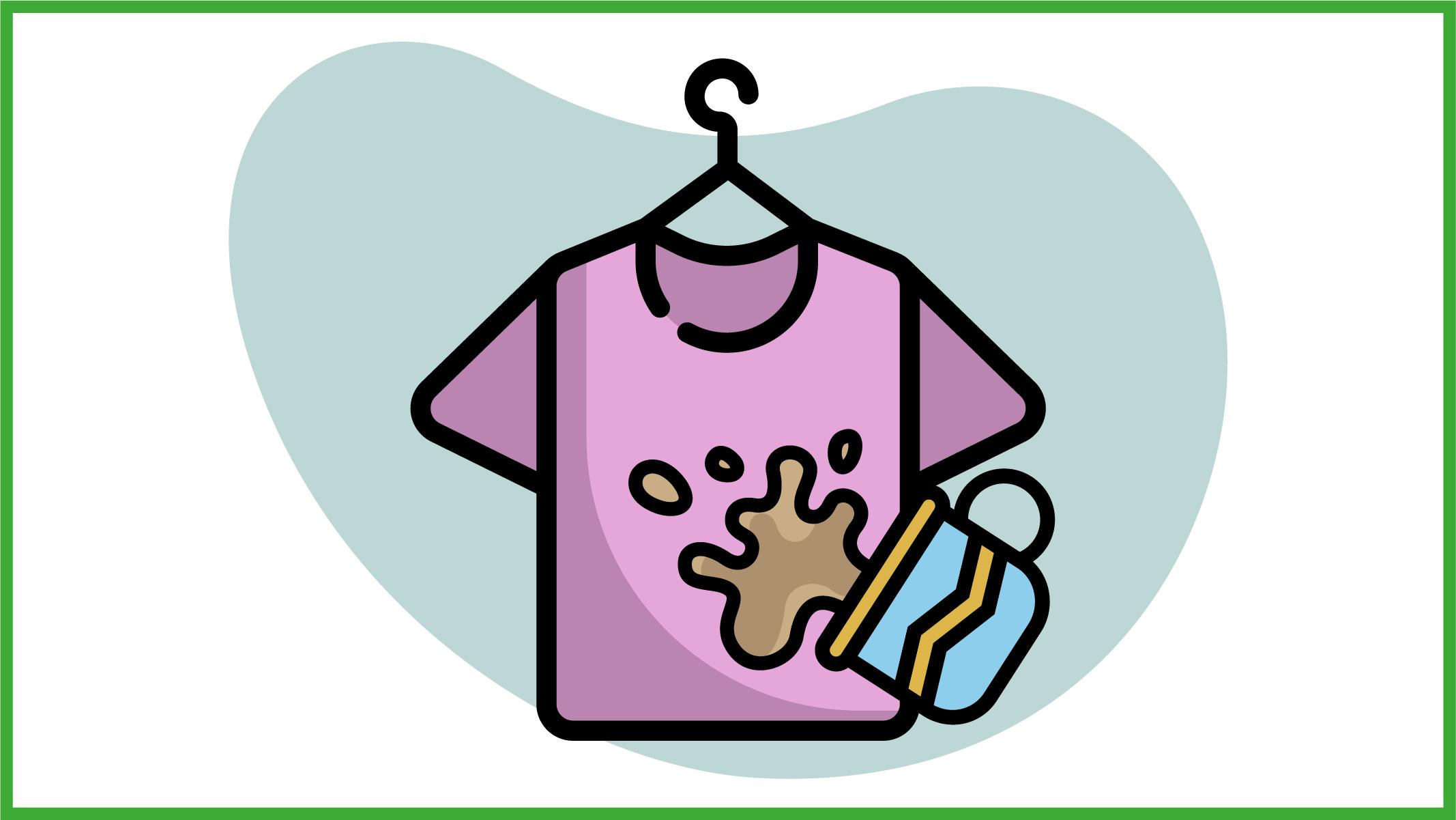 Immagine di una maglietta colorata sporca di caffè