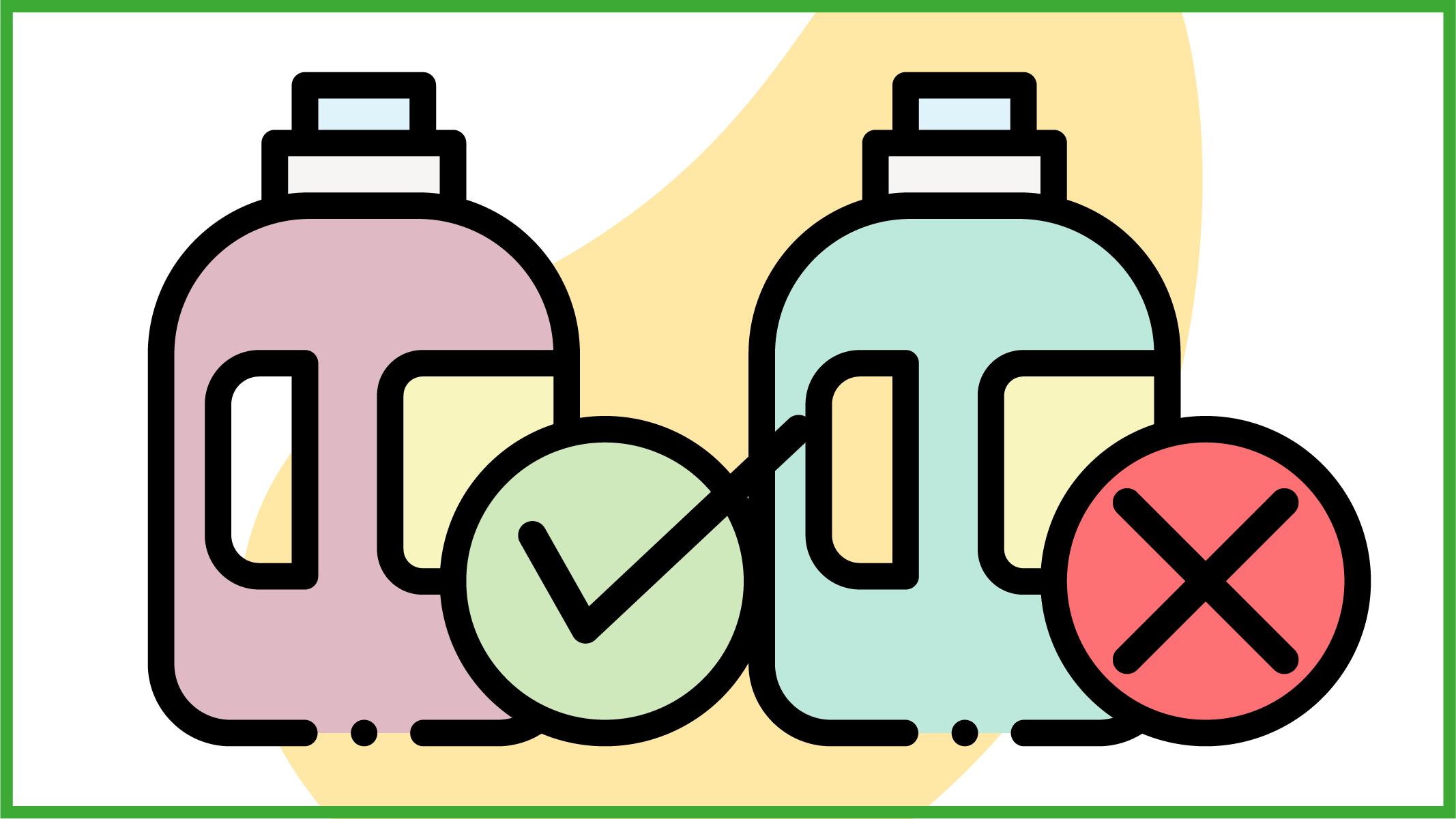 flaconi di detersivo farlocco o ecologico autentico
