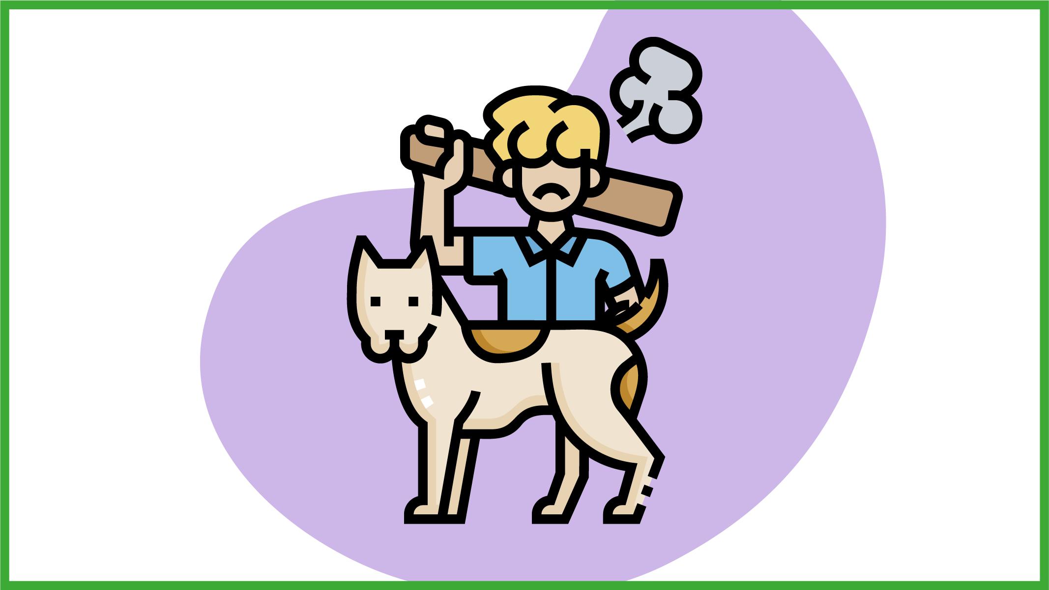 Immagine di un uomo con un bastone in mano e di un cane