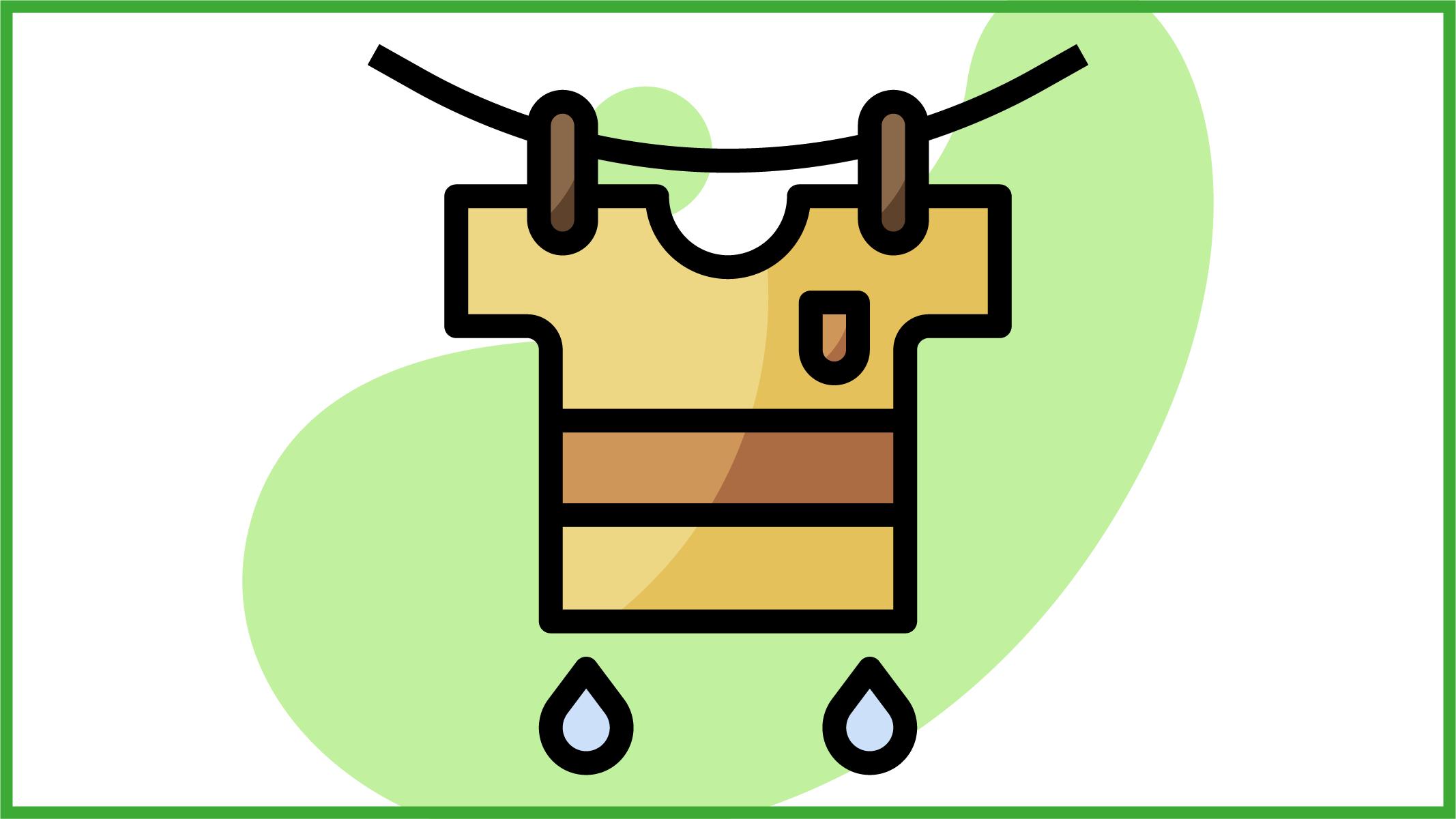 T-shirt appesa al filo da stendere