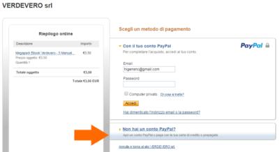 screenshot pagare con paypal senza carta di credito