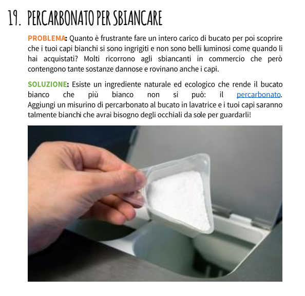 percarbonato in lavatrice