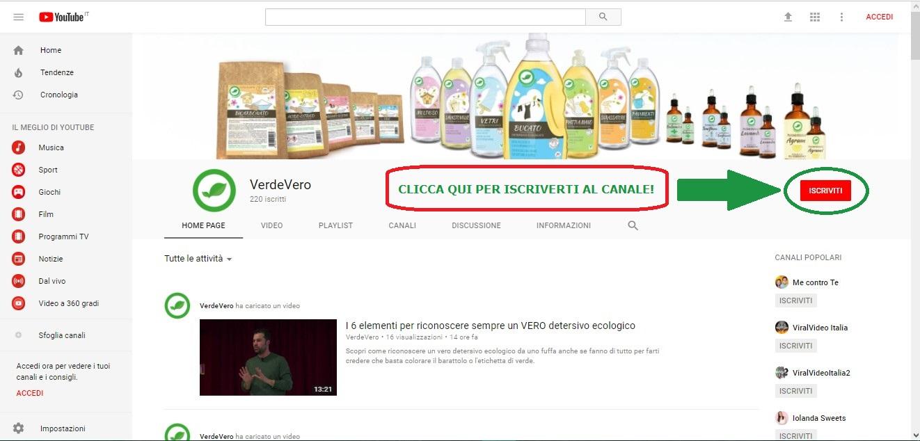 canale youtube di verdevero